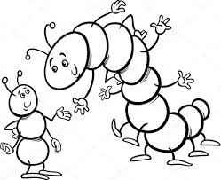 Ant and caterpillar coloring page — Stock Vector © izakowski #43396861