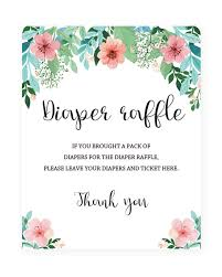 raffle sign floral diaper raffle sign for baby girl shower pink and green baby