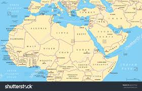 north africa middle east political map stock vector