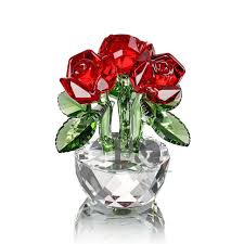 crystal cut glass flower figurines 3 red rose living room wedding gift ornaments