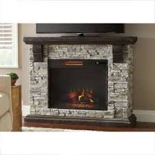 faux stone mantel electric fireplace in gray