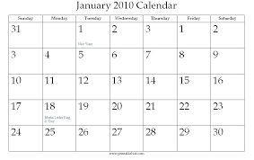 2010 Calendar January January 2010 Printable Calendar Printable Hub