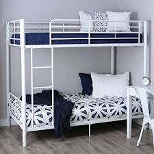 metal bunk bed. Walker Edison Twin-Over-Twin Metal Bunk Bed, White Bed O