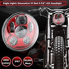 amazon com eagle lights 5 3 4 5 75 led projection headlight for eagle lights 5 3 4 red led projection headlight generation iii for harley sportster n scout red