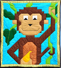 Monkey Quilt Pattern CQ-051 (advanced beginner, lap and throw) & Monkey Quilt Pattern CQ-051 Adamdwight.com