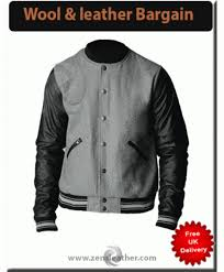 new mens grey wool real leather jacket sleeves college jacket s m l xl baseball jacket
