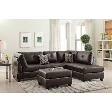 bold reversible 3pc sectional with nail head trim in leather or fabric see options