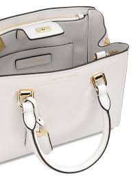 michael kors benning medium white leather bag
