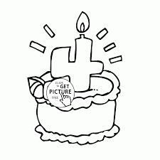 Small Picture Four Number Birthday Cake coloring page for kids holiday coloring
