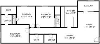 3 bedroom floor plans with dimensions. Wonderful Bedroom 3 Bedroom 2 Bath In Bedroom Floor Plans With Dimensions