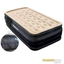 High Rise Single Inflatable Air Bed Builtin Pump Blow Up Mattress Camping  Black
