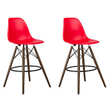 26 inch counter stools. Set Of 2 Red DSW 26 Inch Counter Stool With Dark Walnut Wood Eiffel Legs Stools M