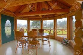 Log Dining Room Tables Log Cabin Breakfast Area With Dining Room Table And Farm View