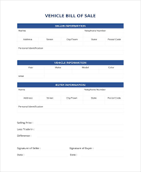 Simple Bill Of Sale For Car Template Free Vehicle Bill Of Sale Template Pdf Word Excel
