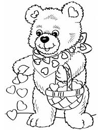 Stampa Disegno Di Orso Con Cuoricini Da Colorare