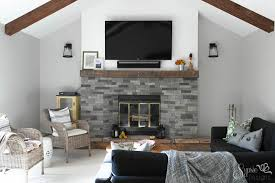 airstone easy rustic fireplace reclaimed wood mantle how to