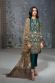 Pakistan Designer Buy Pakistan Designer Chiffon Dress In Dark Green Nameera