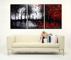hand painted tree canvas wall art picture oil painting modern abstract 3 piece black white and red landscape home decoration set in painting calligraphy  on wall art black and white trees with hand painted tree canvas wall art picture oil painting modern