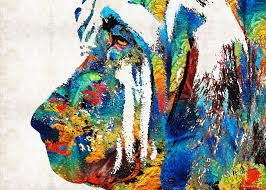 colorfulbloodhoundfb colorful bloodhound dog art