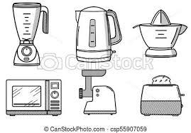 kitchen appliances clipart.  Appliances Set Of Kitchen Appliances In The Style Line Art  Csp55907059 On Kitchen Appliances Clipart P
