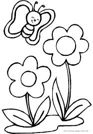 Free colouring pages for kids (that's coloring pages for those of you not using canadian/british spelling) for children to print out and colour offline with crayons. Butterfly With Two Flowers Color Page Flower Coloring Pages Cute Coloring Pages Butterfly Coloring Page