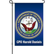 personalized navy garden flag