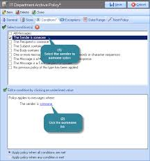 Exclaimer Mail Archiver How Do I Define A Policy Based Upon