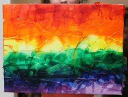 beautiful rainbow art with tissue paper