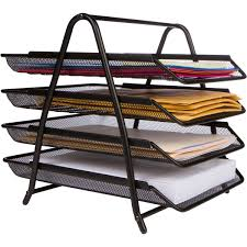 office desk tray. Amazon.com : 4-Letter Tray Office Desk Organizer, Black Products D