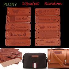 <b>10pcs</b> Random <b>Diy</b> Craft <b>Handmade</b> Square Label <b>PU</b> Leather ...