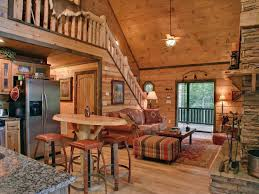 Cabin Style Living Room With A Cozy Country Design Living Rooms - Log home pictures interior