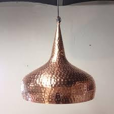 unknown designer large vintage hand hammered copper ceiling light hanging pendant lamp