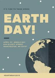 Slate Blue And Tan Simple Illustrated Earth Day Poster Templates
