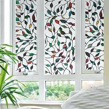stained glass stained glass appliques no glue static cling tree leaves window decor