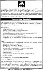 transportation coordinator tayoa employment portal job description