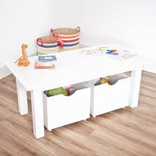 brilliant kids room design with kids play table with storage and round shape rattan basket on wooden flooring