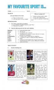 english worksheets sport worksheets page  my favourite sport