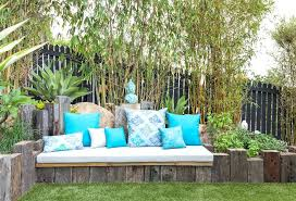 eclectic outdoor furniture. Eclectic Patio Furniture Built In Garden With Wood Bench Seating Outdoor E