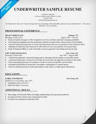 Resume Underwriter