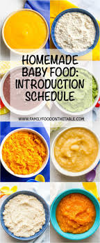Introducing Solids To Baby Chart Homemade Baby Food Introducing Solids Schedule Family Food