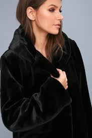 faire black faux fur hooded jacket
