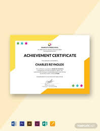 Templates For Certificates Free Preschool Internship Certificate Template Word Psd