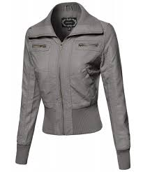 women s slim fit high neck collar biker faux leather jackets