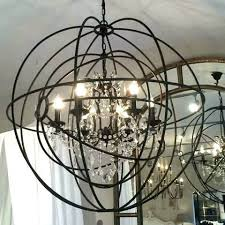 large metal orb chandelier round double crystal droplets canada home decor ou