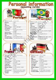 2 Cards Part 3 Quiz Esl Larisa Information Personal Worksheet - By 8 Speaking