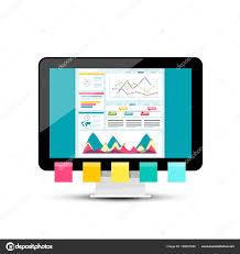 ダッシュ ボードのグラフの最新の Web デザインベクトル Pc 記号