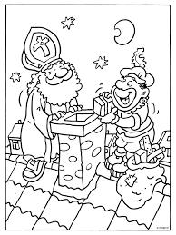 Kleurplaat Sinterklaas En Zwarte Piet Op Het Dak Kleurplatennl
