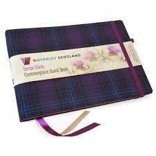 Office Guest Book Waverley Scotland Tartan Commonplace Guest Book Thistle Tartan Kinloch Anderson
