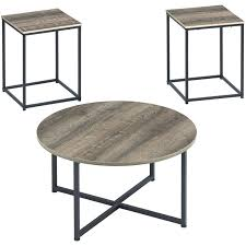 piece coffee table set in dark metallic