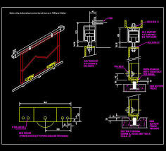 cad details doors heavy duty suspended with bottom rolling gear